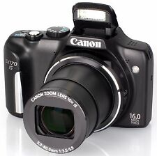 Gently used Canon PowerShot SX170 IS 16.0 MP Digital Camera Black case 4gb sd