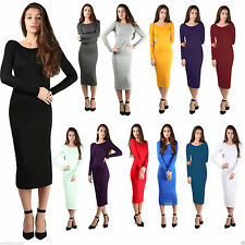 Womens Ladies Long Jersey Sleeve Plain Stretch Bodycon Midi Dress Plus Size 6-26
