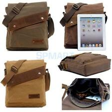 Mens Leather Canvas Shoulder Messenger Bag Briefcase - Khaki/ Coffee/ Army Green