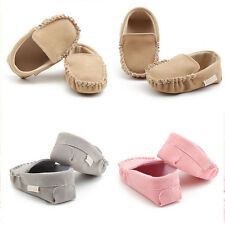 Baby Newborn Infants Boys Girls Velour Soft Crib Sole Soft Flats Moccasin Shoes