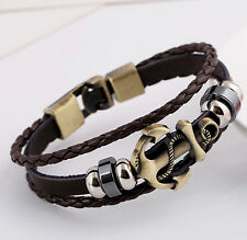 Punk Leather Bracelet  Anchors Men Women Alloy Bead Braided Wirstband Bangle NEW