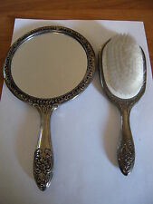 Antique 2 Piece Silver Plated Vanity Set Mirror And Brush