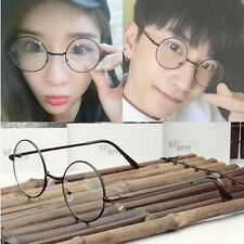 Fashion Vintage Couple Unisex Round Metal Frame Clear lens Retro Geek Glasses