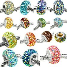 925 Sterling Silver Core AB Crystal Rhinestone European Charms Bead Fit Bracelet