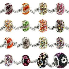 Multi-color Crystal Rhinestone 925 Sterling Silver Core Charms European Bead DIY