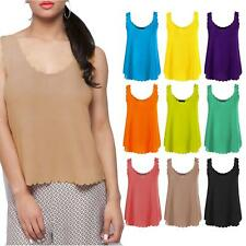 Womens Sleeveless Scoop Neck Scallop Edge Vest Top Crepe Neon T-Shirt 8-14