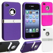 Chrome Tough Hybrid Armor Defender Stand Case Cover for iPhone 4 and iPhone 4S