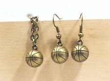 Miniature Jewelry Basketball Dangling Earrings Necklace Antique Bronze Set Men
