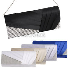 Women Satin Pleated Evening Hand Bag Party Wedding Prom Envelope Clutch Purse