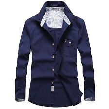 HOT Mens Casual Long Sleeved Shirt Cotton Pure Color Luxury Business Dress Shirt