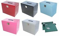 Metal File Storage Box A4 Lockable 5 Free Files OR 10 Optional Suspension Files