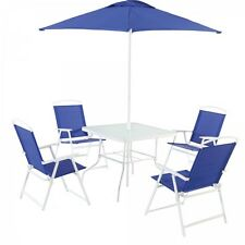 6 Piece Folding Patio Dining Set Umbrella Table 4 Chair Deck Pool Furniture Blue