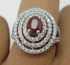 Red Oval Ruby & White Diamond Ring 14K Gold