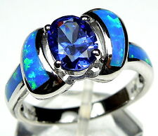 Tanzanite & Blue Fire Opal Inlay 925 Sterling Silver Ring size 6789