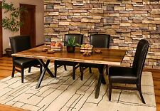 Amish Trestle Dining Table Set 7-Pc. Xavier X Metal Base Solid Wood Live Edge