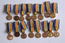 Single WWI Miniature Inter-allied VICTORY Medals - choose from selection of 16