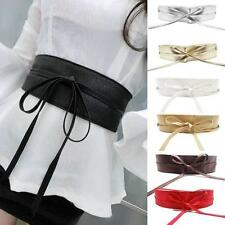 Womens Leather Wide Self Tie Wrap Around Obi Waist Band Boho Dress Belt 2o