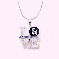MLB San Diego Padres 925 Sterling Silver Team Love Necklace With Rhinestones