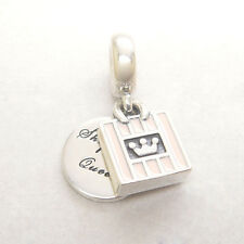 NEW Authentic Sterling Silver Dangle Shopping Queen Soft Pink Enamel Charm Bead