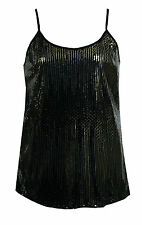 WOMENS PLUS SIZE BLACK GOLD SPARKLY SEQUIN EVENING PARTY CAMI TOP SIZE 16 - 26