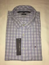 NEW WITH TAGS TOMMY HILFIGER MEN'S CUSTOM FIT CASUAL SHIRTS -BLUE / WHITE-CHECKS