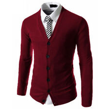 New Fashion Casual Men's Slim Fit V-Neck Long Sleeve Knitted Sweater Cardigan
