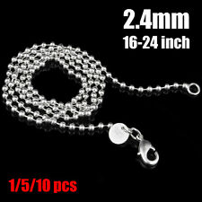 1/5/10PCS Fashion Womens 2mm 925 Silver Ball Chain Necklace 16-24 inch Wholesale