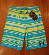 NWT UNDER ARMOUR BOARD SHORTS HYDRO STORM LOOSE FIT HIGH-VIS YELLOW BOYS MENS 28