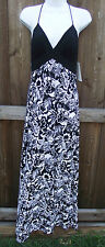 OLEG CASSINI BLACK MULTI FLORAL POLYESTER CASUAL HALTER SUN DRESS FULL 10 12 NEW
