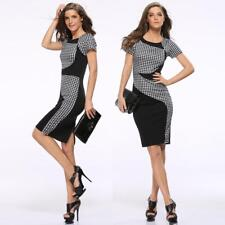 Women's Figure Flattering Plaid Wiggle/Pencil Cocktail Slim Short Sleeves Dress
