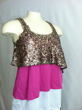 ROCK & REPUBLIC WHITE PINK GOLD SEQUIN TOP SLEEVELESS TEE TOP SHIRT SZ XS NWT