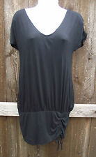 NINE WEST SOLID BLACK RAYON SPANDEX V NECK SHORT SLEEVE KNEE BUBBLE DRESS S NEW