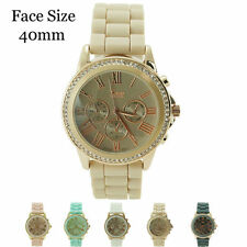 Ladies Geneva Platinum 3 Eye Chrono Roman Numeral CZ Silicone Fashion Watch 40mm