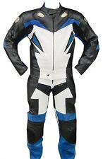 2pc Motorcycle Racing Riding Leather Track Suit w/ Armor New Blue/ White/ Black