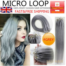 16''-26'' Remy Micro Loop Ring Beads Human Hair Extensions #Grey UK Stock 100s