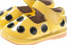 Discontinued Toddler Girl's Leather Squeaky Shoes Yellow Patent with Black Dots
