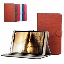 NEW Folio WOOD Pattern Leather Stand Case Cover For Huawei MediaPad M2 8.0''