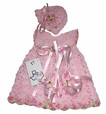 MiC Crafts Handmade Crochet Baby Set Outfit 3Pc Dress Hat Ballerina Shoes Pink