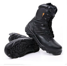 Men's Military Tactical Boots Leather Waterproof Police Duty Work Boots