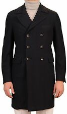 BELVEST Hand Made In Italy Navy Blue Cashmere Twill Unlined DB Coat NEW Slim