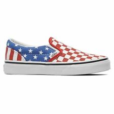 New Vans Classic Slip On White Red Blue American Kids Trainers Shoes VZBUFLJ