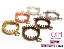 10pcs 12mm Round Bezel Cup Brass Finishes: Brass, Silver, Copper Jewelry Base