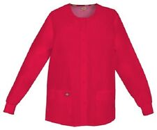 Scrubs Dickies Snap Front Warm-Up Jacket 86306 REWZ Red Free Shipping