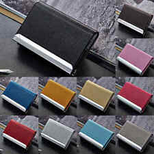 New Aluminum PU Leather Business Credit Card Name Id Card Holder Case Wallet Box