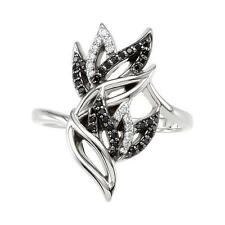 Black Spinel and Diamond Leaf Ring Sterling Silver