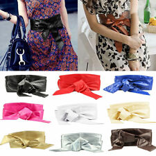 Girl PU Leather Soft Self Tie Bowknot Band Wrap Around Chic Unique Sash Obi Belt