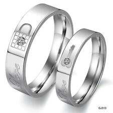 Couple Rings Key Lock Matching Setting Titanium Steel Promise Ring Wedding Bands