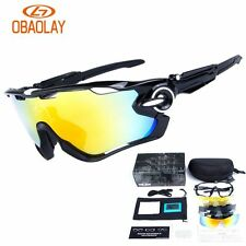 5 Lens Polarized Cycling Glasses Eyewear Goggles Bicycle Anti-Fog Sunglasses New