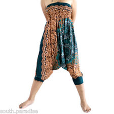 Harem Pants Smocked Waist Aladdin Boho Trousers Baggy Hippie 2in1 Yoga Jumpsuit