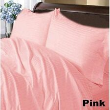 US-BEDDING COLLECTION 1000TC 100%EGYPTIAN COTTON PINK STRIPE US TWIN SIZE